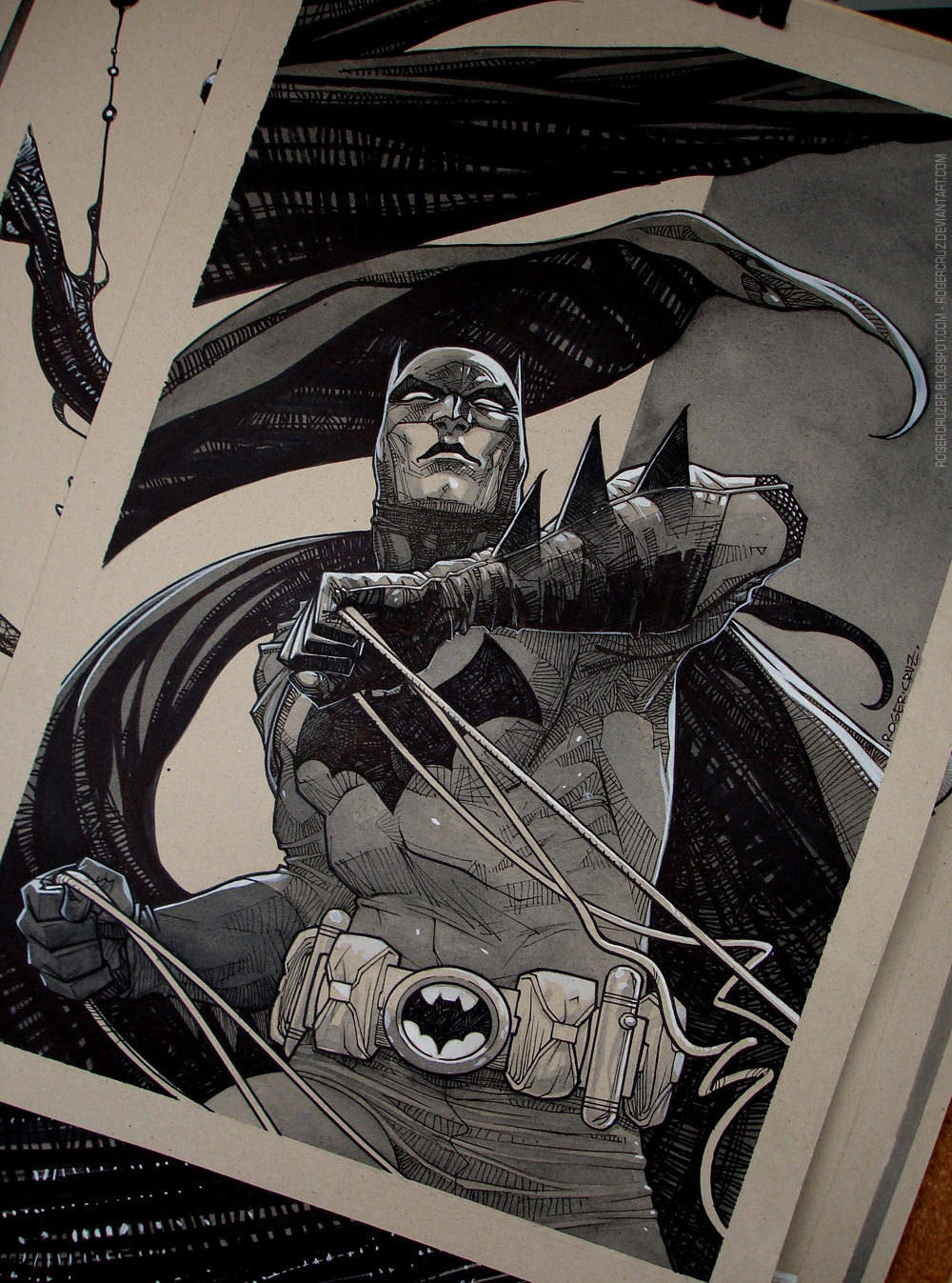 lulubonanza:  Batman/Commission/watercolor/inks by *rogercruz