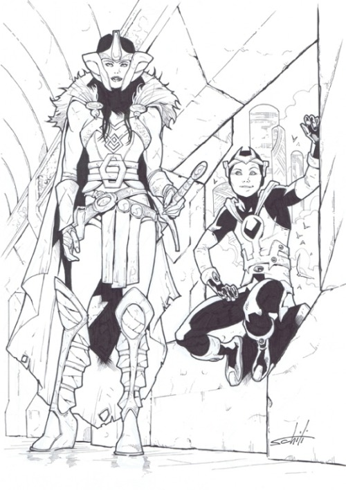 Sif and Kid Loki by Valerio Schiti
