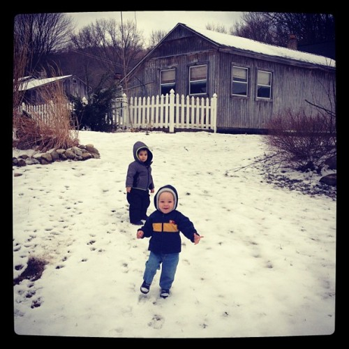 Emilio and Dylan having fun in the snow.