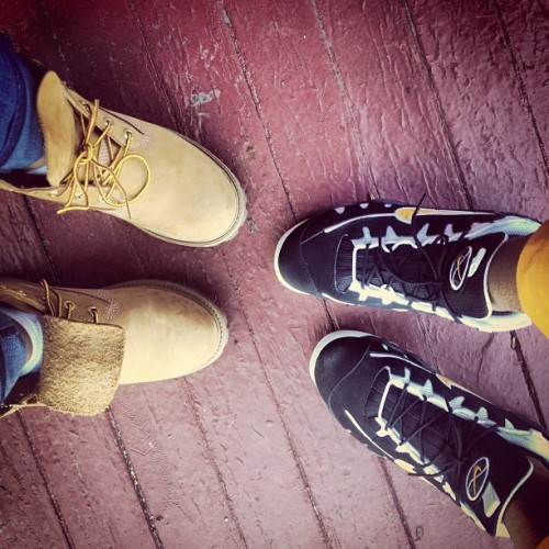 Me and my main #timbs #timberland #nikes #airmaxes #yellow #black #nikeairmaxes #laceup @always_girly1