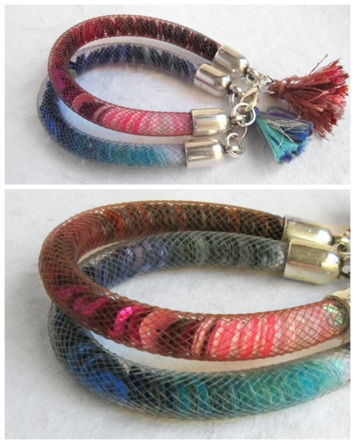 truebluemeandyou:  DIY Nylon Mesh Filled Bracelet Tutorial from El Cuaderno de Ideas here. There is a translator on the upper left hand side. I'm surprised I haven't seen more DIYs using this material because there are some many cool things you can do with it. I posted a roundup of jewelry nylon mesh ideas and supplies here.