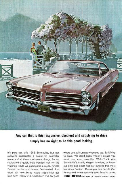 Pontiac 1965 advertisement. by totallymystified on Flickr.Pontiac 1965 advertisement.