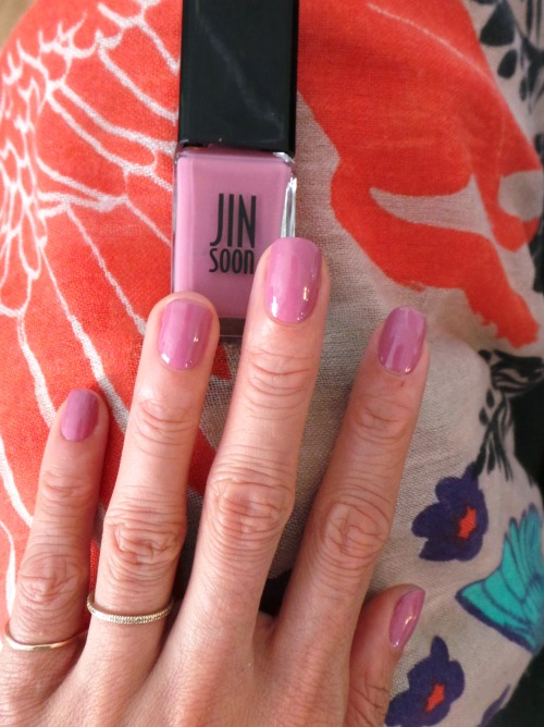 evachen212:  Lovely Lilac Whenever I'm on set I make BFFs with the manicurist (because, well, you all know how much I love nails). If I'm lucky, they'll give my nails a quick pampering. This week, the lovely Kelly painted my nails with Jinsoon Choi's French Lilac. It's the perfect dusky lilac, I adore it.