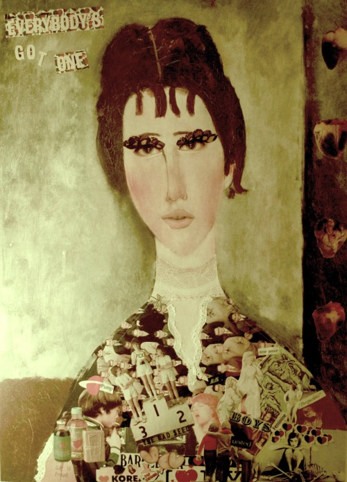 "Collage recreation of Modigliani's ""La Fanciulla Bruna"" paper glued on art print. By Syni Pappa & Nana."