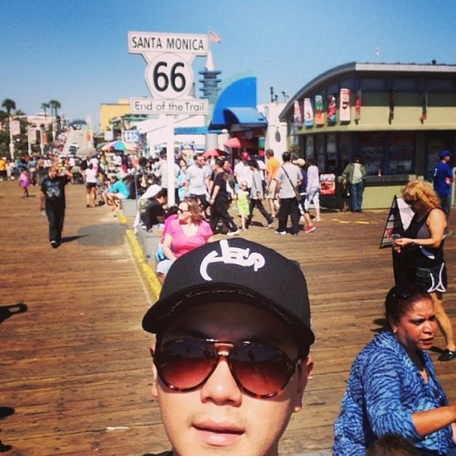 "Here we are again!!! Santa Monica~ (at Santa Monica Route 66 ""End of the Trail"")"