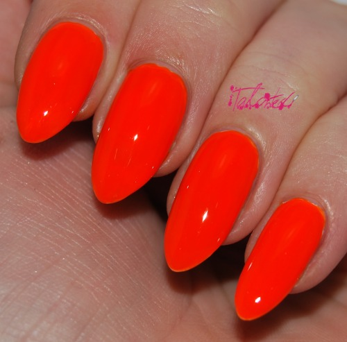 SWATCH: Kinetics 'Orange Pop' I bought this in Dubai on my last holiday when it was sunny and hot and all I wanted was a neon polish on my fingers. This was perfect. Back in the cold, miserable UK it seems slightly too bright… but still love it. I did a base coat of white polish and then 3 coats of orange. It took quite a long time to dry, even with Seche Vite. Also… I only noticed when I was taking these photos that it says 'for artifical nails only'. Oh well! Not the best polish I've ever tried, but it fulfilled my holiday neon craving so I'm happy! Lex :)