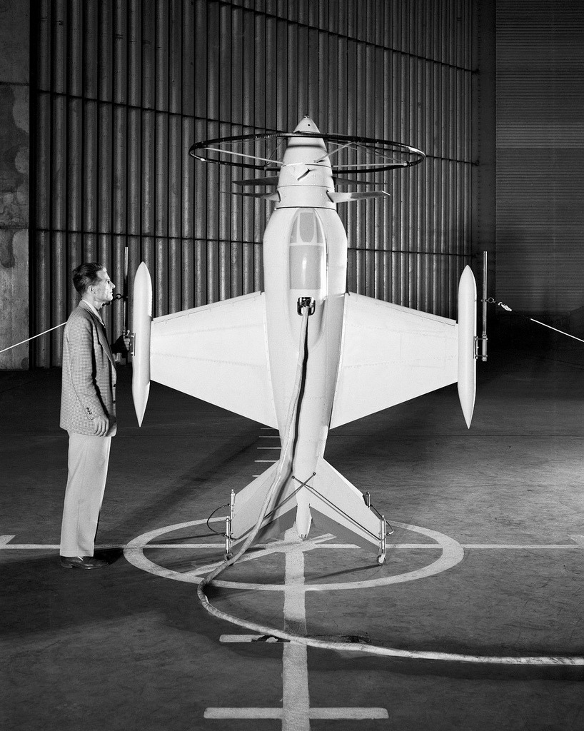 Free-flight investigation of 1/4-scale dynamic model of XFV-1 in NACA Ames 40x80ft wind tunnel, August 18, 1942