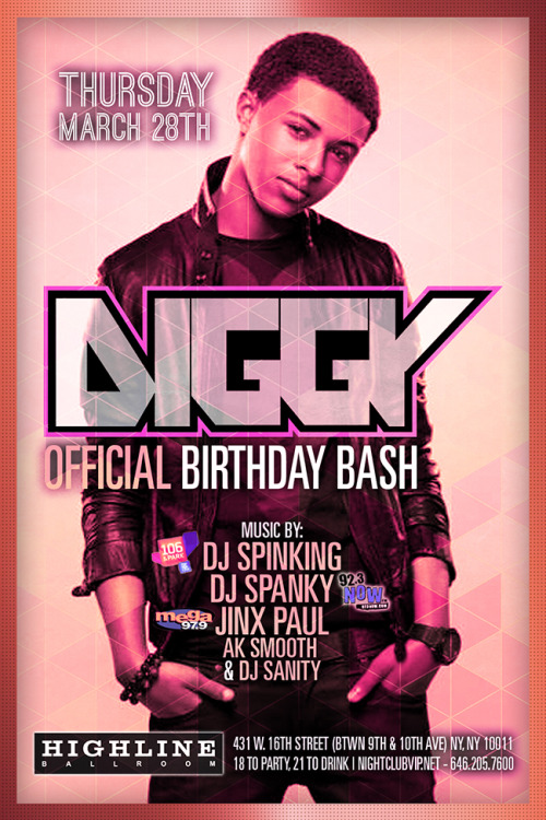 Diggy's birthday party is today in NY! :) [Info]