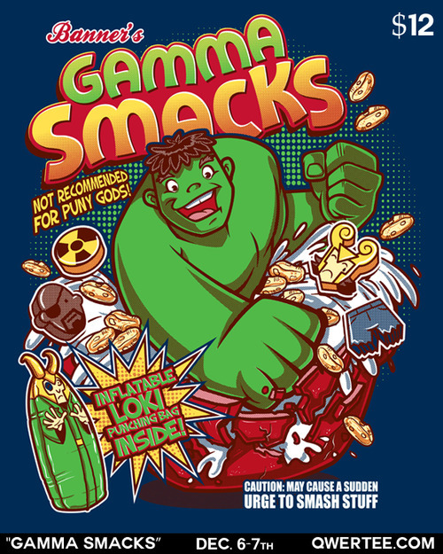 """Gamma Smacks"" t-shirt on sale on http://www.qwertee.com/ for $12!! Available for 24 hours only!! #Hulk"