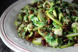 yummyinmytumbly:  shaved brussels sprouts & french lentils