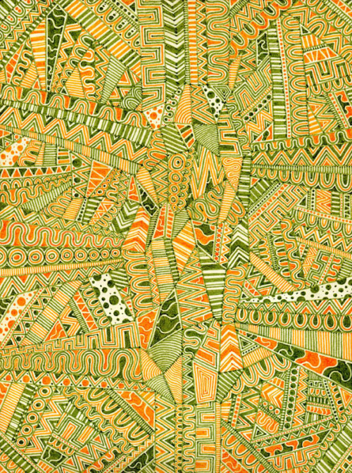 urban-myth:  Green and orange hand-made pattern.