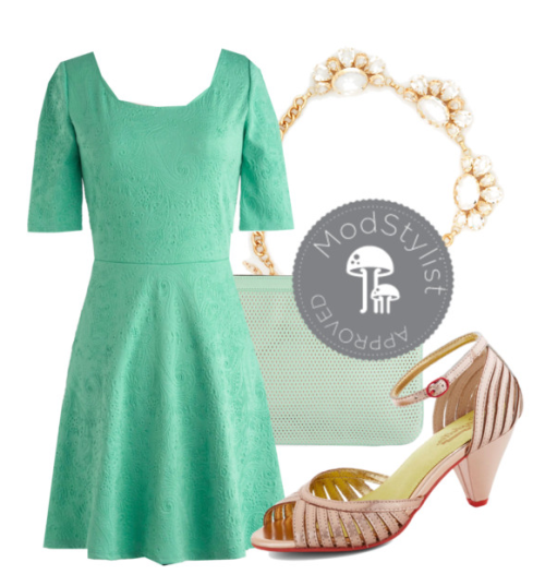 "peoniesandteaa asked you:  I just bought the ""Empire state of Mint"" dress and I'm wearing it to a semi-formal dance. What can I accessorize with it, to dress it up a bit?   Hi there! The Empire State of Mind Dress is such a terrific piece, and I think you can dress it up super easily for a fancy event like your semi-formal. :) Add a glitzy statement necklace and some metallic heels to turn this dress up a notch on the glam scale. These heels are all awesome options. I hope that this helps and that you have a wonderful time! Definitely upload an outfit photo on your final look to our Style Gallery if you get the chance. <3 Jess, ModStylist"