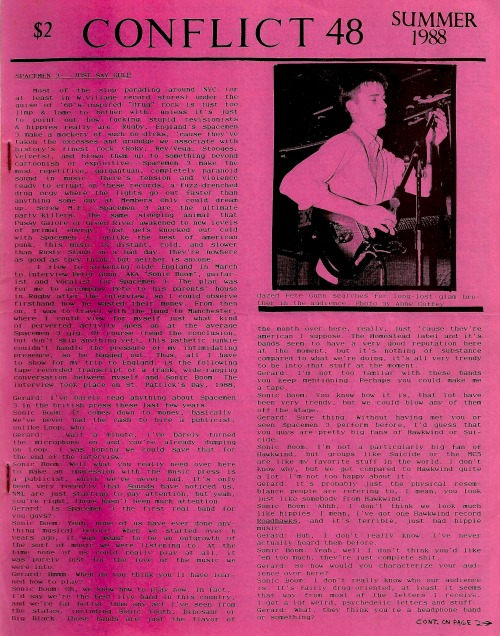 dynamitehemorrhage:  Interview w/ Spacemen 3's Sonic Boom on the cover of Gerard Cosloy's CONFLICT magazine #48, Summer 1988.
