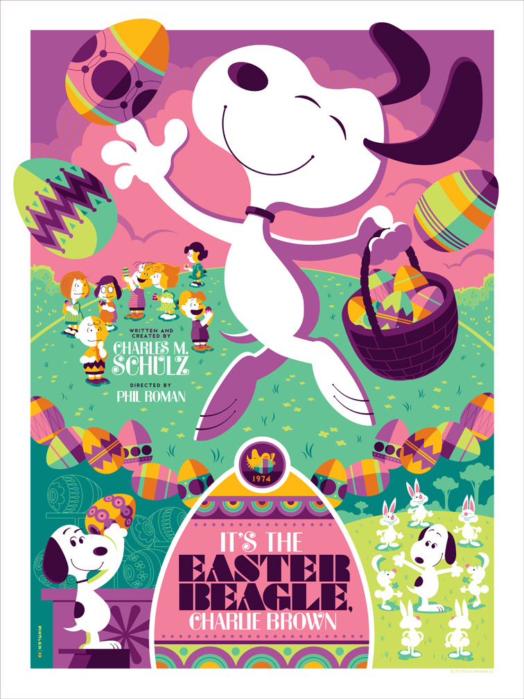 """It's the Easter Beagle, Charlie Brown"" Print by Tom Whalen for Dark Hall Mansion. The regular (in blue) is still available on DHM's store and the variant (above) is sold out. Tom's APs will be released this Monday (March 25th, 2013) in his store at 12PM EST. Image via"