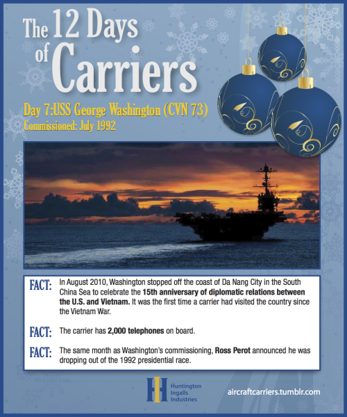 ♫ On the Seventh Day of Carriers,the Navy gave to me:Seventy-five aircraft in Washington's airwingA six-month deployment on the LincolnA five-acre (almost!) flight deck on RooseveltFour steam turbines on VinsonThree 20mm Phalanx rotary gun systems on EisenhowerTwo nuclear reactors on NimitzAnd an island house on the Enterprise!