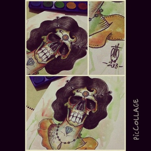 #piccollage #skull #draw #design #tattoo #flashtattoo #watercolor #colors #sharpie #girl #girlskull #diamond #art #arttattoo