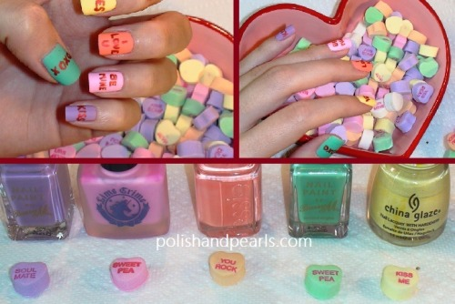 DIY Candy Heart Nail Art Tutorial from Polish and Pearls here.