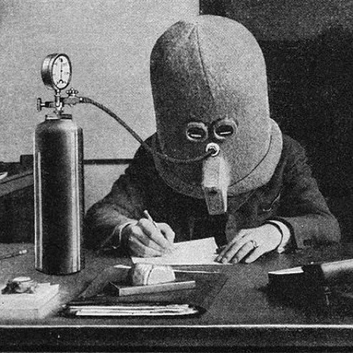 "cutesy:  Isolator - 1925 Invented by science fiction pioneer Hugi Gernsbeck, the ""Isolator"" was designed to help focus the mind when reading or writing, by rendering the wearer deaf, piping them full of oxygen, not only by eliminating all outside noise, but also by allowing just one line of text to be seen at a time through a horizontal slit."
