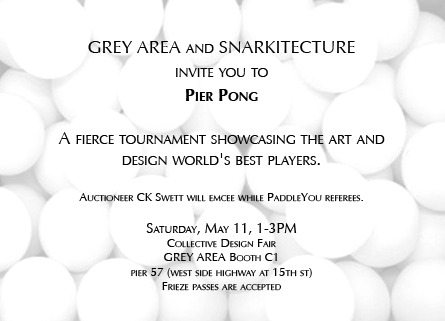 Ping pong! Tomorrow (Saturday, May 11) from 1-3 PM at Collective Design Fair.