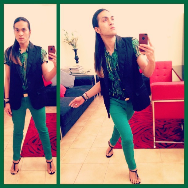 Green and black for a rainy Bahrain today. :)  #dolceandgabbana printed button-up, #justcavalli black vest, #louisvuitton belt, #zara green skinnies, #aldo feet thongs.  #amsterdam #black #bahrain #easy #fashion #fabulous #fashionstatement #green #gorgeous #happy #haveaniceday #like #look #love #lookoftheday #lovelovelove #ombrehair #plain #print #philippines #smart #simple #spring #summer #rainyday #rain #wet #tuesday