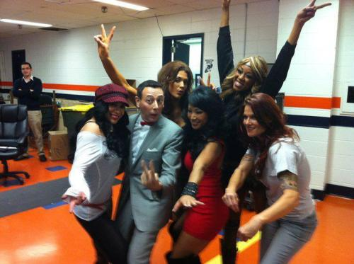 Pee Wee Herman chilling with current/past WWE Divas.