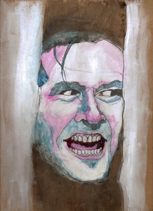 """Here's Johnny""- gouache and watercolor"