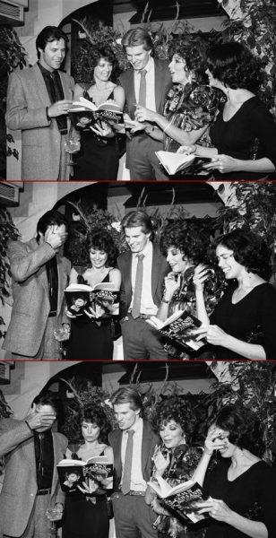 "dref22:   Dynasty cast members look over copies of Joan Collins' autobiographical book ""Past Imperfect"" during a party to celebrate the U.S. release of the book. They look embarrassed. :)"