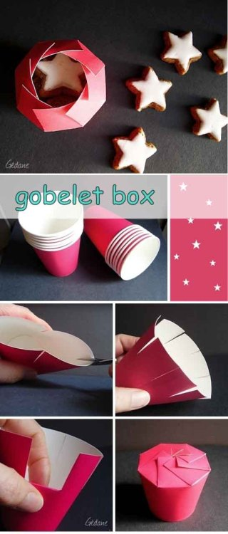 Transform a paper cup into a cool little cupcake-style gift box! The website is in french and it calls it a gobelet box and it's a great idea for holiday gift giving!  Turn any paper cup into a small gift box. Click here to see more!