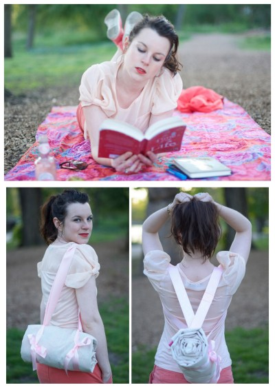 truebluemeandyou:  DIY Portable Picnic Blanket from Clones N Clowns here. I like her idea of using waterproof canvas for the bottom. But you could also just purchase a cheap washable blanket and add the carrying straps (large beach towels would also work).