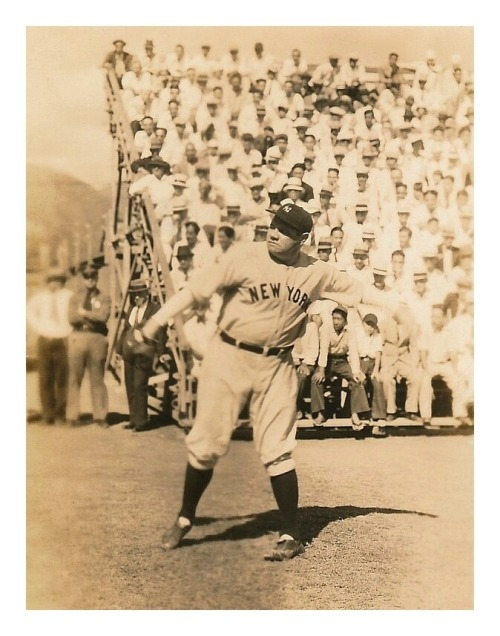 Babe Ruth Warms Up In Front Of The Crowd c.1930's Exhibition Game
