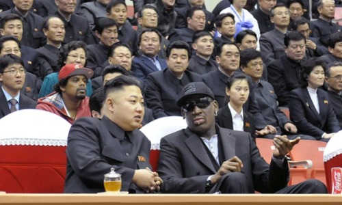 "‎""Basketball diplomacy: North Korean leader Kim Jong-Un and former basketball star Dennis Rodman speaking at a basketball game in Pyongyang.""The most high profile American to visit North Korea in years, and it's … Dennis Rodman. Kind of want the North Korean secret police's transcript of this conversation. Of all the guys in the background, can you tell which one is part of Rodman's entourage?"