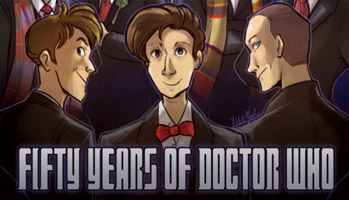 A preview of a fanart piece I will be contributing to an Doctor Who fanbook! If you are curious about, check out the dA group.I will post the full version of this picture when the book comes out :>