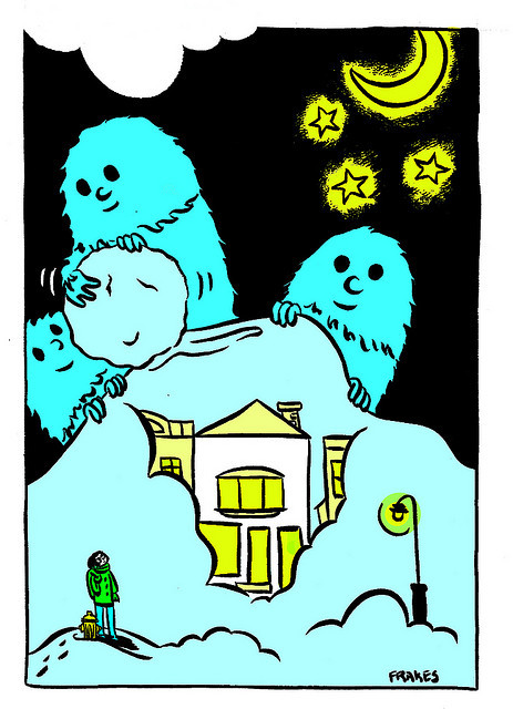 Old art that I don't hate- Yetis cover Vermont in snow