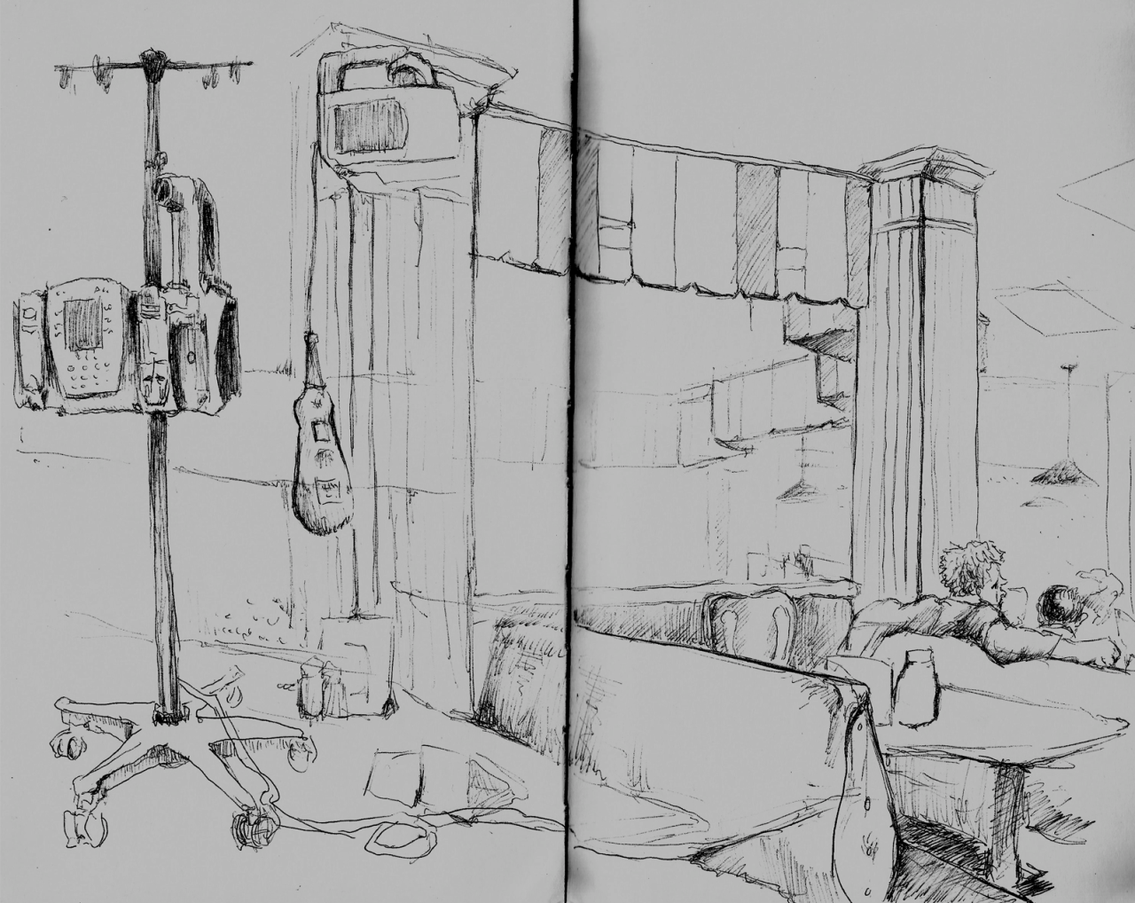 Compilation of on-the-scene sketching from a hospital and an ice cream parlour when I went to get rabies shots. As you can imagine, it was quite the eventful day.