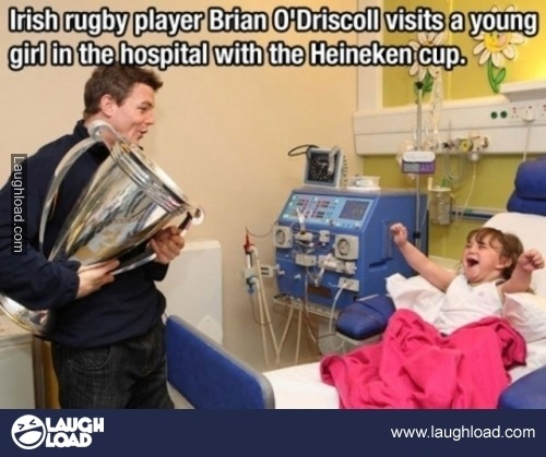 Irish rugby player Brian O'Driscoll visits…