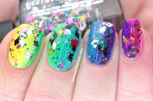 polishallthenails:  12 polishes in a neon sparkly rainbow!  A crazy glitter polish needs a crazy rainbow base! I have more info on how to do this in the full post :D