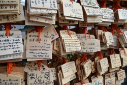 "700seas:  Wishes hanging up outside a Temple in Ueno, Japan.  ""I wish for long life and happiness for William, Nathan and Beverly, Their Mother Alice."""