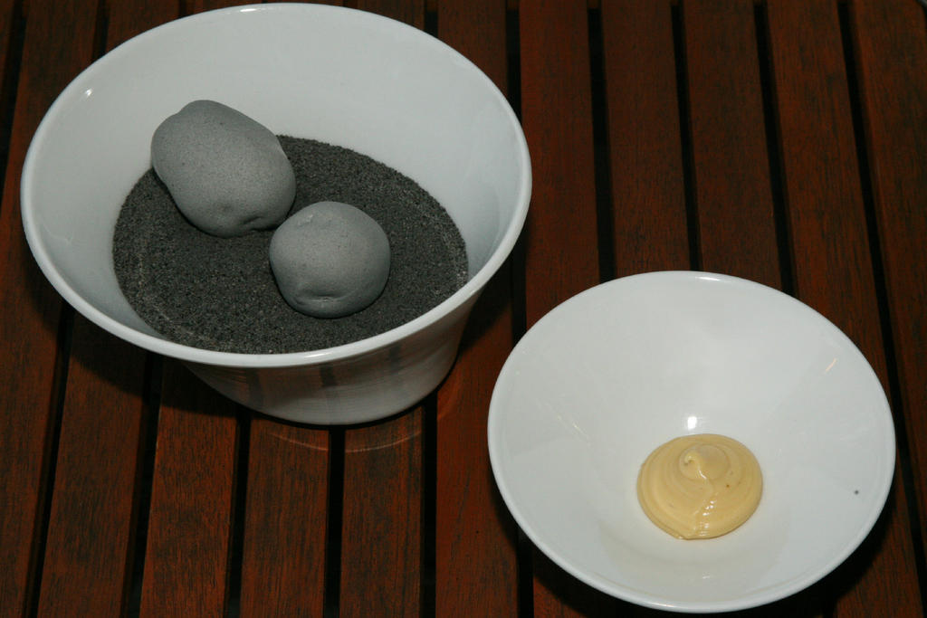 "From Gastroposter Paul S. Manson:  ""Edible stones"" (Potatoes) at Mugaritz in Errenteria. Gipuzkoa (Donostia San Sebastian) Spain"