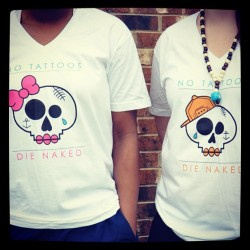 notattoosdienaked:  #ntdn V-necks!!! #notattoosdienaked #skulls #snapback #inked #tattoos #bodyart #streetwear Notattoosdienaked.bigcartel.com  Go get your V-Necks now, just $20!! at http://notattoosdienaked.bigcartel.com