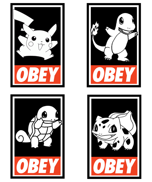 Pokemon OBEY Designs - by Royal Bros Art T-Shirts, Posters, Stickers & iPhone Cases available on RedBubble Artist: || Facebook ||Twitter || Tumblr || Othertees || Qwertee ||