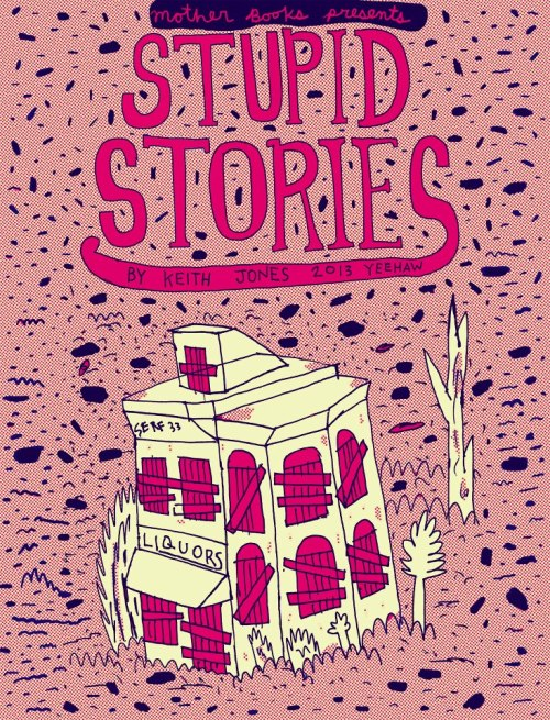 "DEBUTING AT TCAF 2013! Stupid Stories #1 Keith Jones Mother Books 5.5"" x 7, 24 pages, Colour Risograph $5  New comics by Toronto's Hot-Dog-Madman Keith Jones. Stupid Stories #1 contains Jones' newest work ""Donut Daze"" where rival drivers clash in a garbage encrusted drag race through a post-apocalyptic roadside donut den. Scrawled masterfully in Jones' unmistakeable erratic style. Not to be missed!   Catch Keith Jones' artshow Budsies at Capital Espresso (1349 Queen Street W) Opening May 3rd @8pm - 11pm or you can always visit Keith's Hot Dog shop Hot n' Dog (216 Close Ave off of Queen St. W.)"