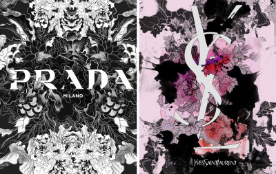 999fashionfatale:  Daryl Feril Prada and Yves Saint Laurent Logo Designs