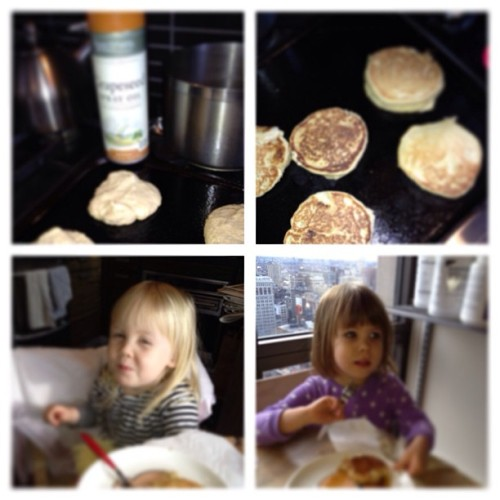 Time to eat the pancakes. Guess which secret ingredients daddy used instead of milk, oil or sugar…