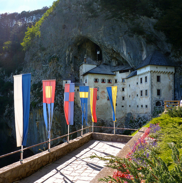 | ♕ |  Knights tournament flags at Predjama castle  | by © B℮n
