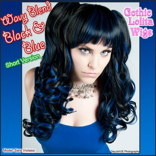 ♥ Wavy Blend - Black & Blue ♥This fun wig is a perfect blend of black and blue! Shown as it comes out of the bag, this wig comes pre-styled with thick curls, and comes with a base wig and two ponytail clips (shown worn). What would you wear it with?Available Now: www.GothicLolitaWigs.com/Blended-Lolita-Wigs/Guest Model: Sara Violassi | DayJaVUE Photography
