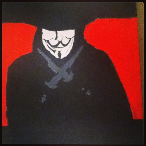"My attempt at painting ""V"" from V for Vendetta. #v #vforvendetta #vendetta #revolution #remember #remember #the #5th #of #november #painting #art #drawing #picture #knifes #weapons #ideas #create #guyfawkes #mask #comic #comicbook #graphicnovel #graphic #novel #badass"