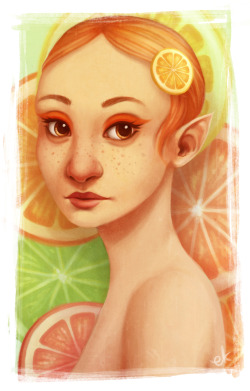 finished painting of citrus pixie girl