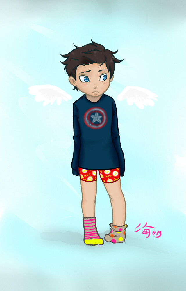 miunyankodesu:  I drew a Castiel in my nightwear~ He's a superhero fan now!