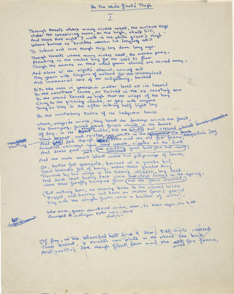 "Dylan Thomas's original manuscript page of the poem ""In the White Giant's Thigh."""