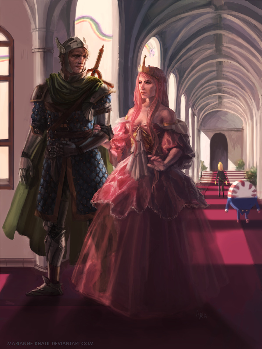 whatapatoot:  fanarttime:  Queen Bubblegum and Her Knight by *marianne-khalil  Queen huh? I kind of like the sound of that.